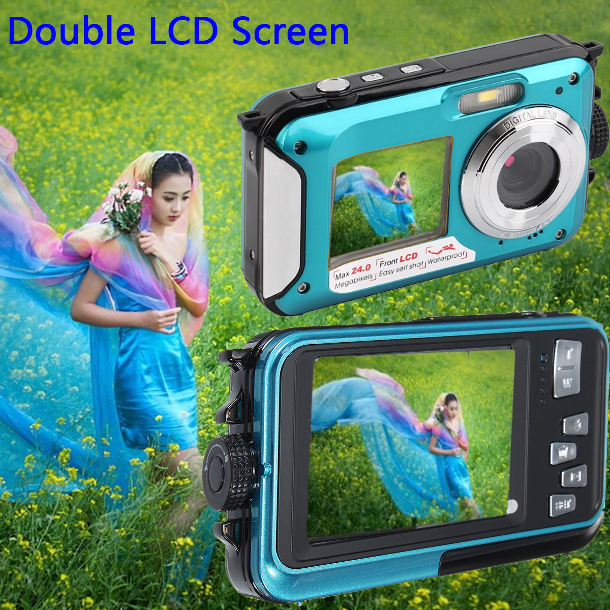 XANES HD 1080P 24MP Double Screen 16X Zoom Digital Camera LED Flashlight Waterproof