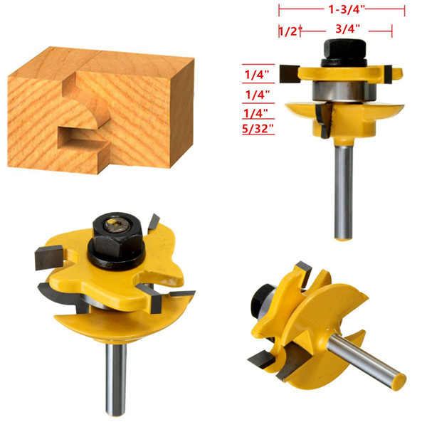Drillpro RB15 3pcs 1/4 Inch Round Rail Stile Router Bits Wood Working Cutter