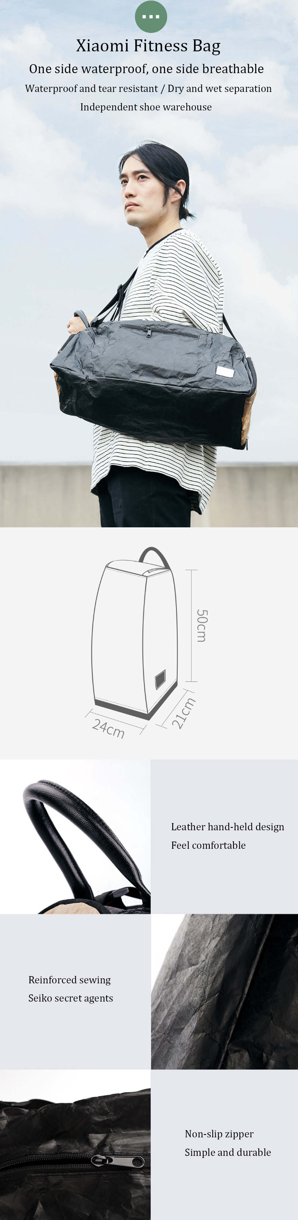 XIAOMI DuPont Paper Fitness Bag Portable Outdoor Sport Backpack Waterproof Fitness Hiking Cycling Shoulder Bag