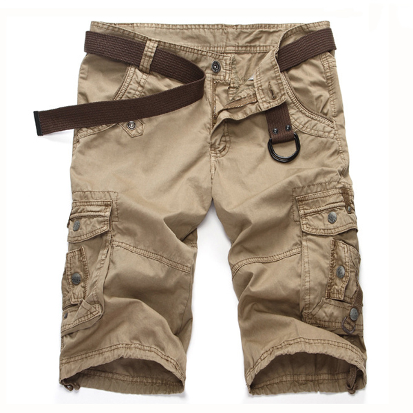 Mens Multi Pocket Solid Color Casual Summer Outdooors Cargo Shorts Beach Trousers