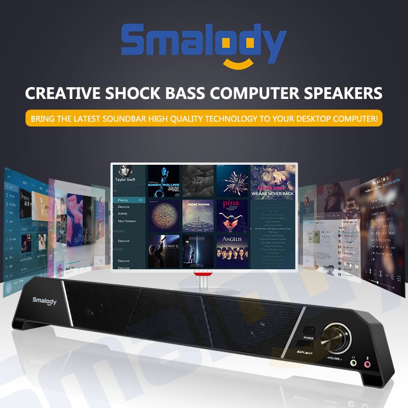 Smalody Computer Speaker 8W Super Bass HIFI Sound 3.5mm Jack USB Powered Wired TV Speaker Soundbar