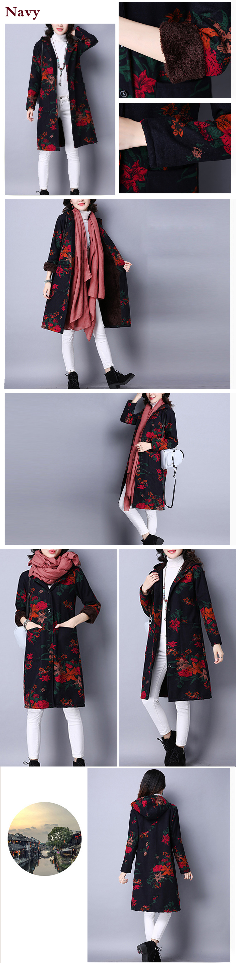 Folk Style Women Hooded Long Sleeve Floral Printed Velvet Warm Coat