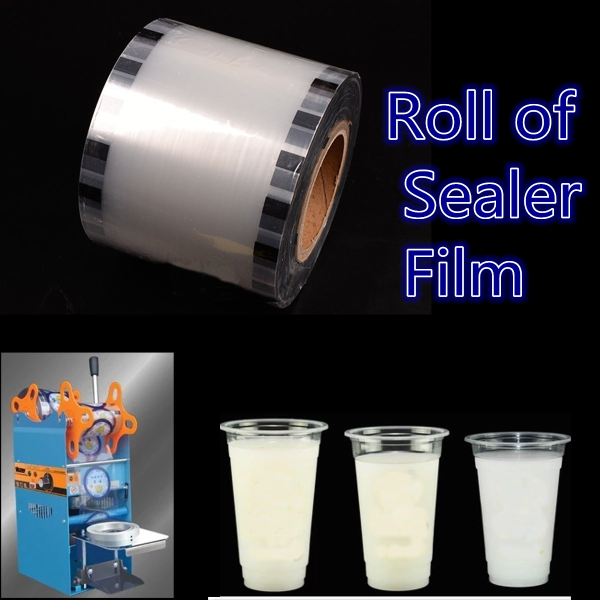 Clear Cup Seal Film Roll 3275 Cups 90-105mm for Cup Seal Ring Machine Bubble Milk Tea