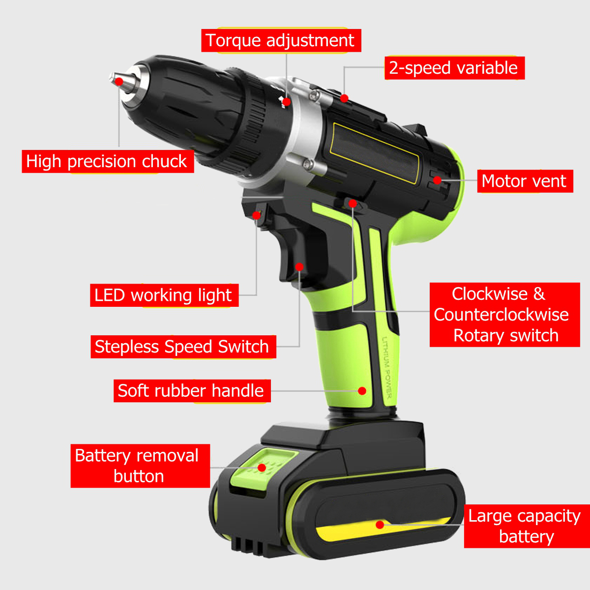 3 In 1 Hammer Drill 48V Cordless Drill Double Speed Power Drills LED lighting 1/2Pcs Large Capacity Battery 50Nm 25+1 Torque Electric Drill