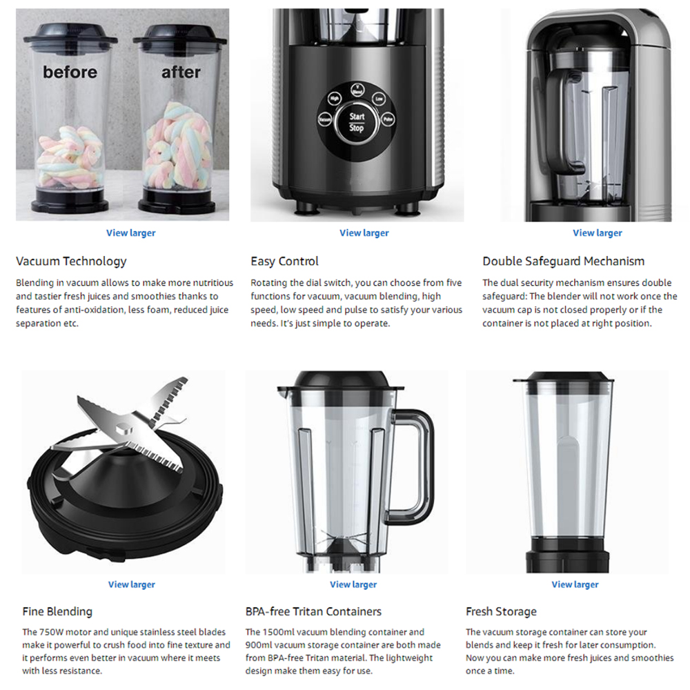 AUGIENB Vacuum Blender BPA-Free Antioxidation Function Smoothie Maker For Ice Fruits Shakes With Recipebook Vacuum Cup 750W 1500ml
