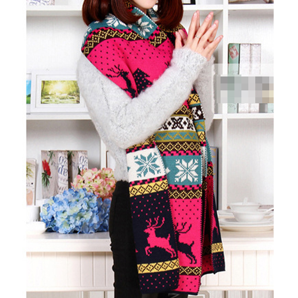 Womens Christmas Elk Double Sided Knitting Wrap Scarf