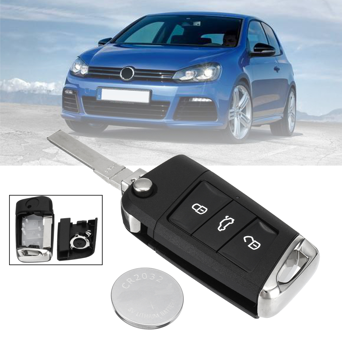 3 Buttons Flip Remote Key Fob Case Shell Battery For VW Golf MK7 2002-2006