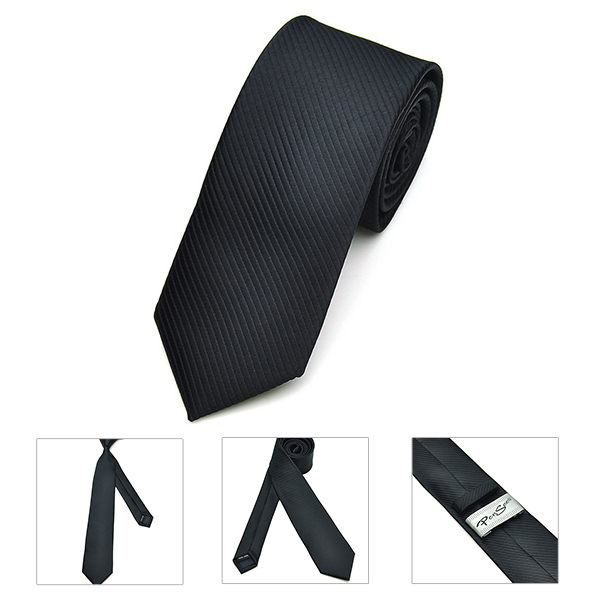 Pensee Mens Ties Polyester Silk Skinny Jacquard Woven Solid Neckties Accessory