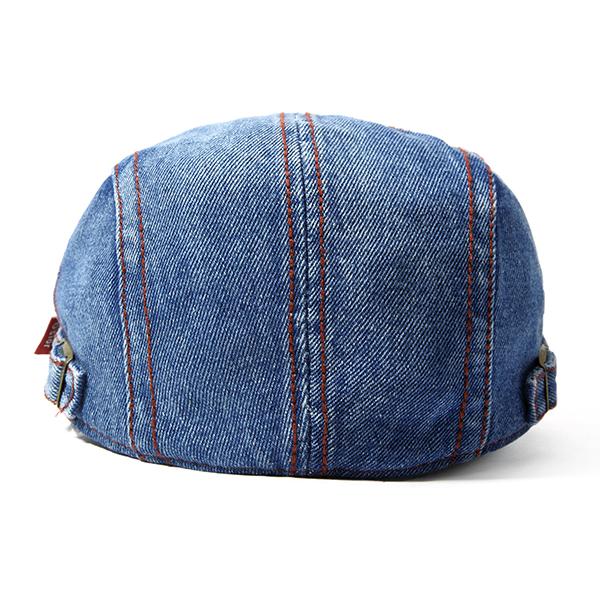 Men Washed Denim Beret Cap Letter Embroidery Peaked Cap Buckle Adjustable Hat
