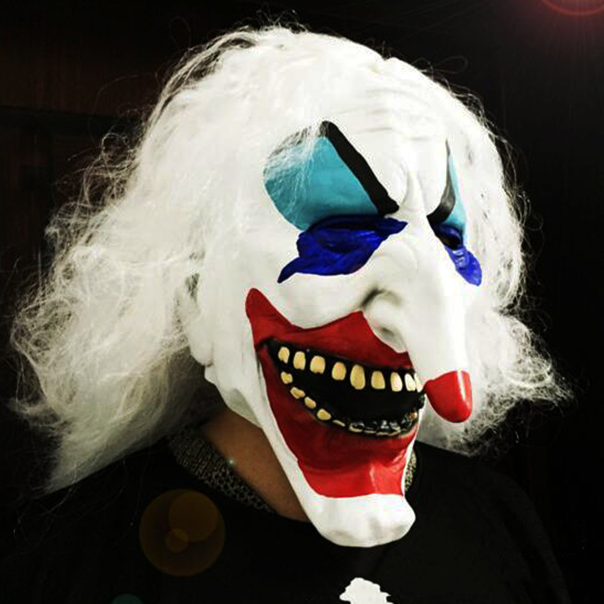 White Hair Clown Halloween Latex Mask Face Fancy Costume Party Creepy Dress Prop