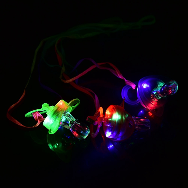 Colorful 3 LED Light Up Nipple Shape Whistle Baby Toy Party Disco Halloween