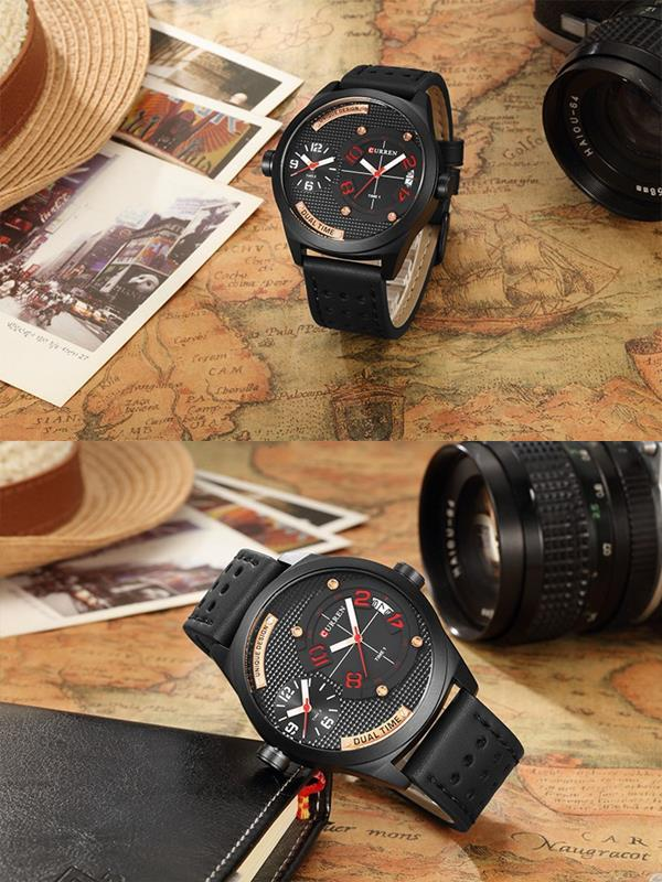 CURREN 8252 Dual Time Zone Men Quartz Watch Casual Style Leather Strap Sports Watch