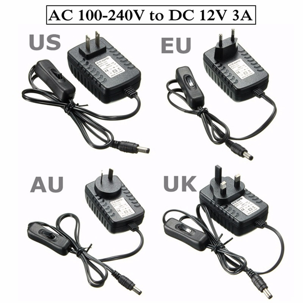 AC 100-240V To DC 12V 3A Power Supply Adapter Switch For Light LED Strip