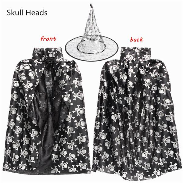 Children Kids Hat Cap Stars Fun Halloween Cloak Witch Dress Wizard Gown Fancy Dress Cosplay Party Robe Costume