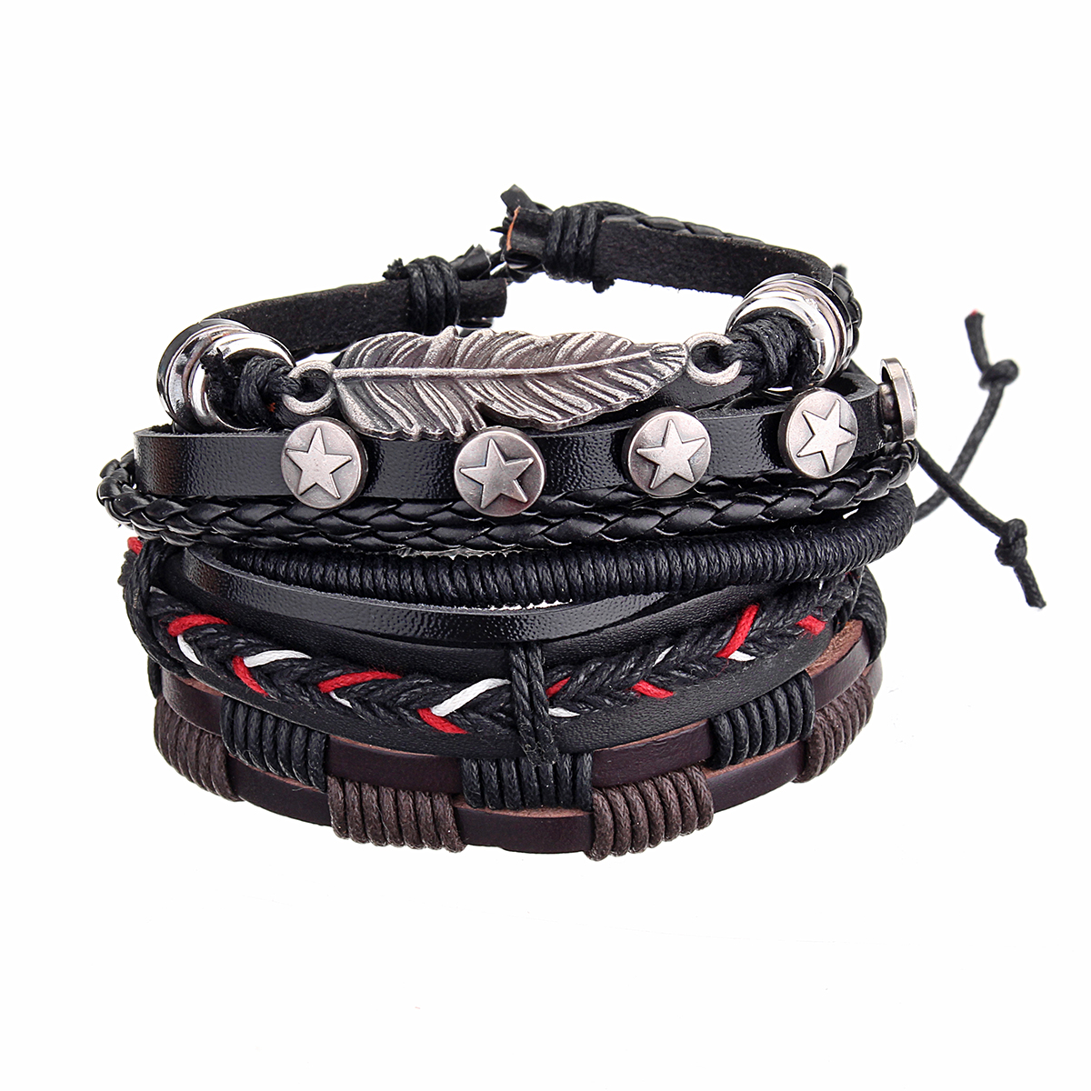 Adjustable Multilayer Retro Men Bracelet Vintage Wristband