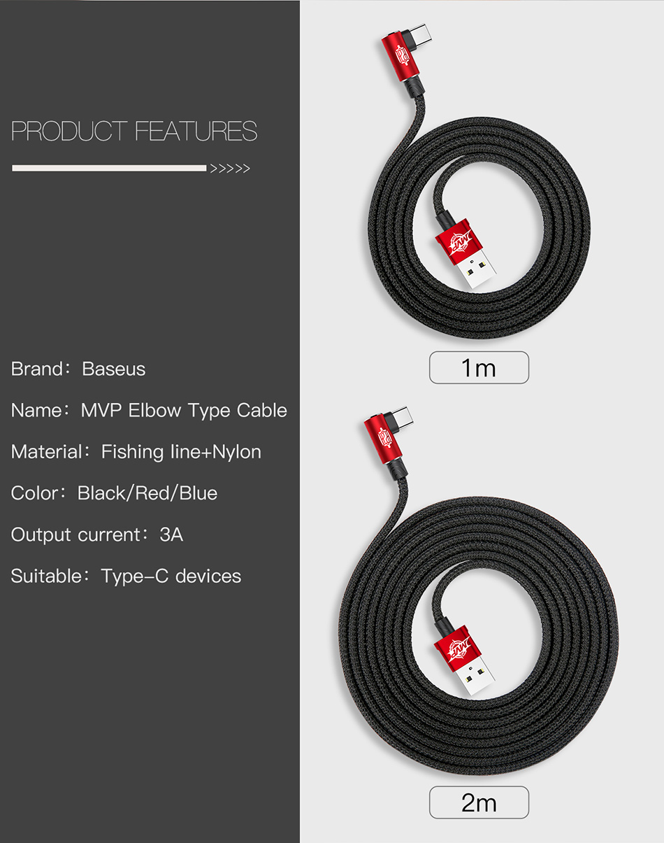 Baseus MVP Elbow Reversible 90 Degree 2A Type C Fast Charging Nylon Cable 1M for Xiaomi Letv Samsung