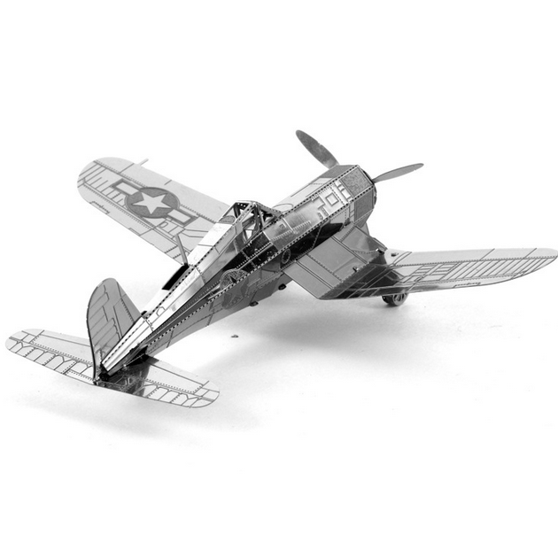 Aipin DIY 3D Puzzle Stainless Steel Model Kit F4U Corsair Silver Color