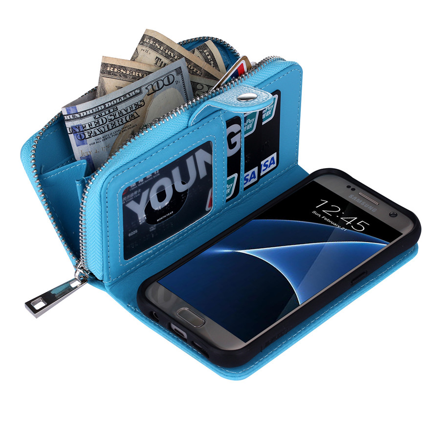 Litchi Grain Zipper Wallet Multi-function Leather Case Cover For Samsung Galaxy S7