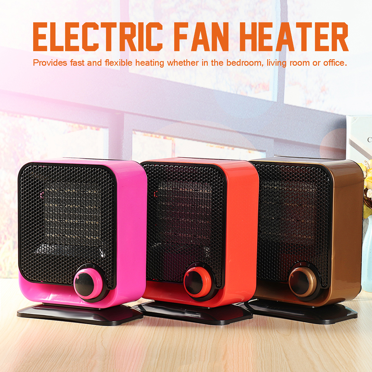 220V 1500W Electric Fan Heater Low-noise Adjustable Temperature Controller 3 Color to Choose