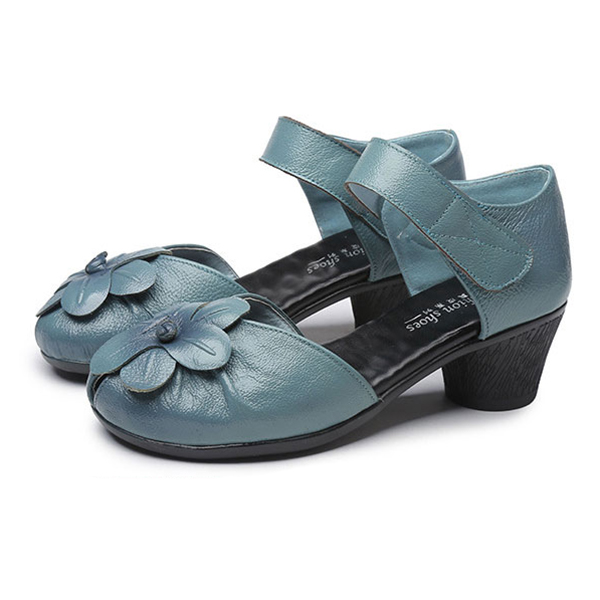 SOCOFY Flower Soft Leather Sandals