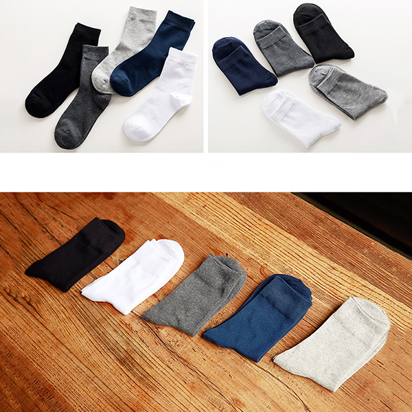 5 Pairs Weekly Socks Mens Cotton Suction Sweat Deodorant Classic Breathable Socks