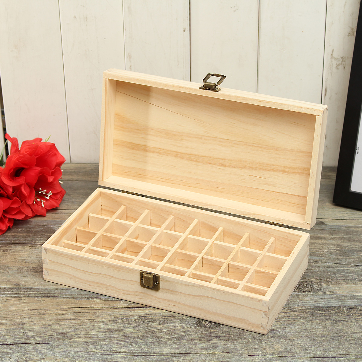 32 Holes Essential Oils Wooden Box Container Solid Pine Pure Natural Wood Storage Case