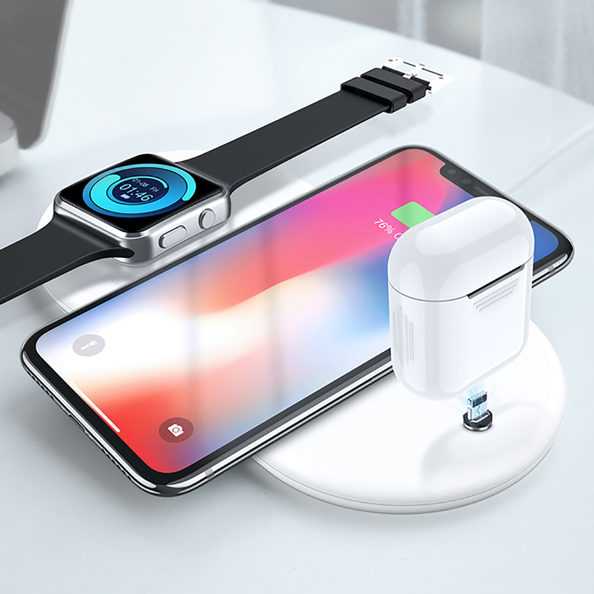 3 In 1 Qi Wireless Fast Charger USB Stand Power Pad for iPhoneX 8 iwatch Airpods
