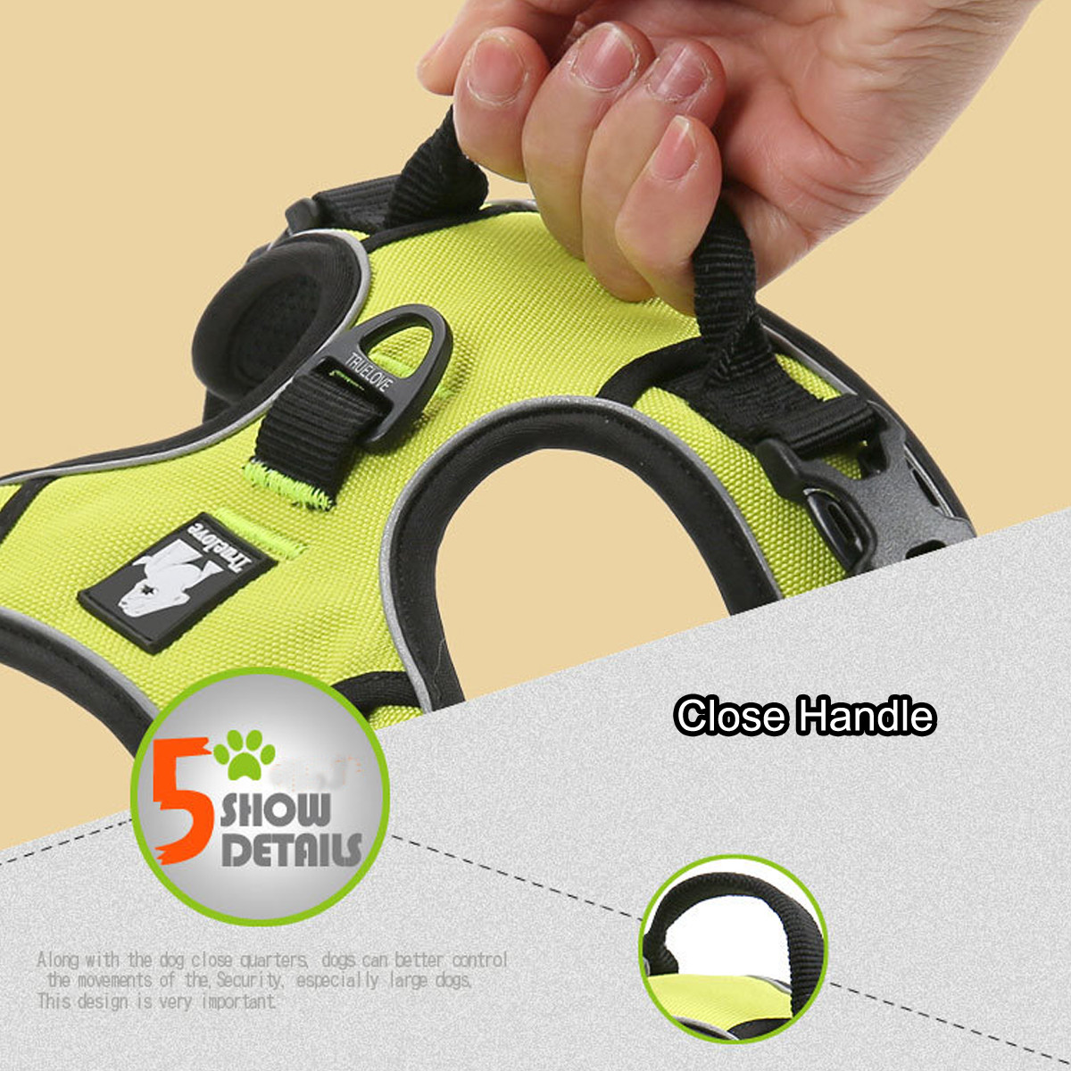 M Size Dog Pet Adjustable Harness Collar Hand Strap Reflective Vest Collar Safety Outdoor