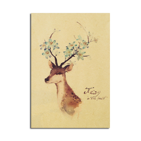 Deer Poster A Style Kraft Paper Wall Poster DIY Wall Art 21 inch X 14 inch