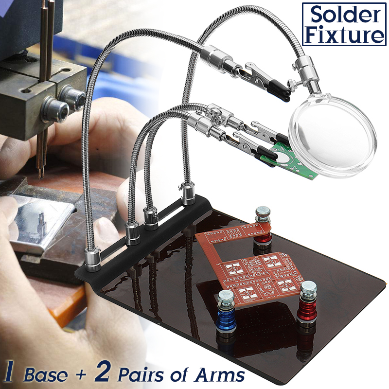 YP-004 PCB Fixture Base Arms Soldering Station PCB Fixture Helping Hands Electronic DIY Tools with Universal 4 Flexible Arms + 3 Magnetic Column