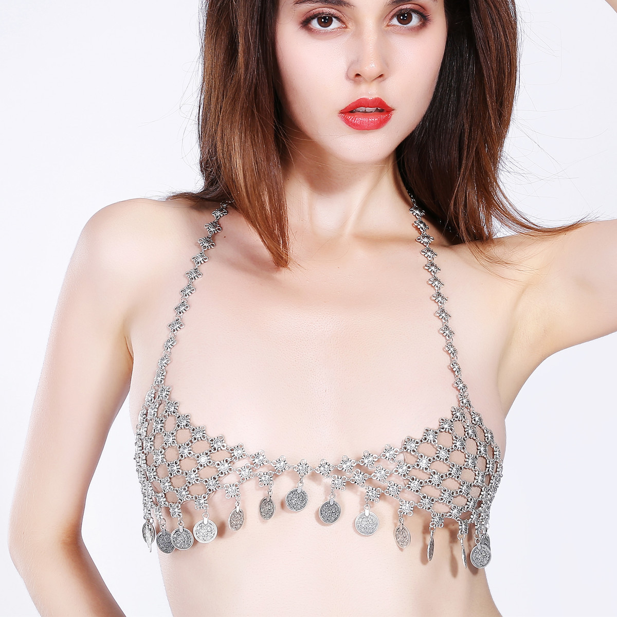 Sexy Tassel Flower Bohemia Coin Beach Free Bra Body Chain