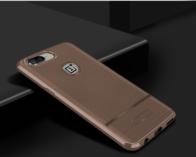 Bakeey Litchi Pattern Anti-fingerprint TPU&Silicone Leather Case For OnePlus 5