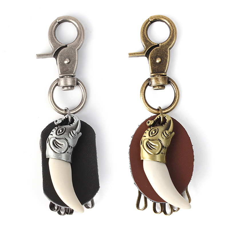 Vintage Retro Spike Elephant Leather Car Key Chain Ring