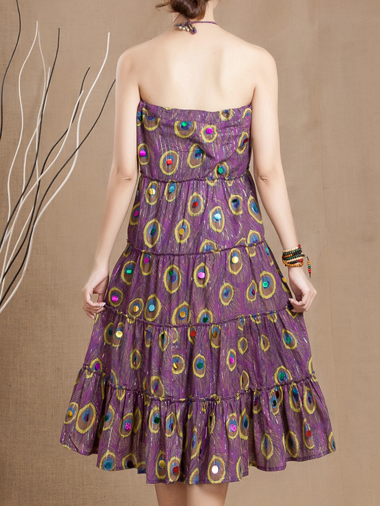 Peacock Feather Printed Swing Skirt