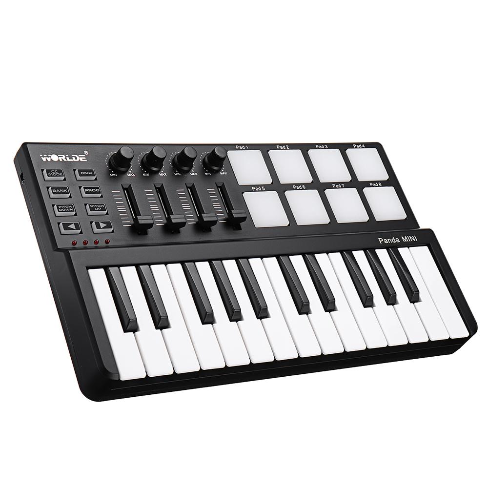 WORLDE Panda Mini Portable 25-Key USB Keyboard Drum Pad and MIDI Controller
