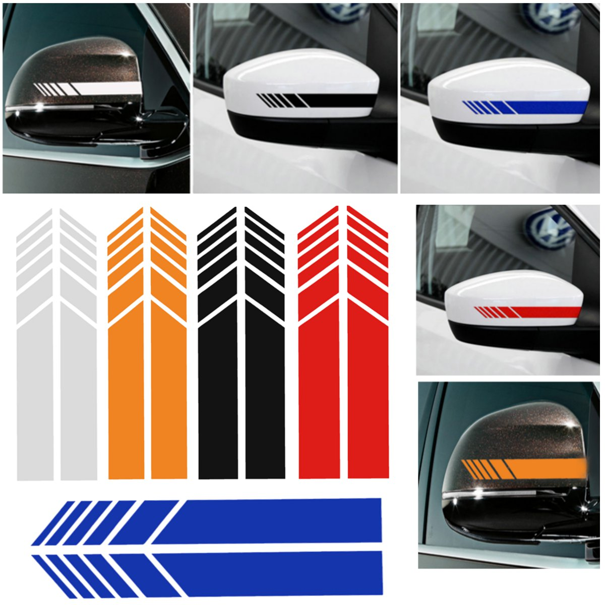 2pcs Car Rear View Mirror Cover Stickers Vinyl Stripe Decal Emblem KK for Mercedes