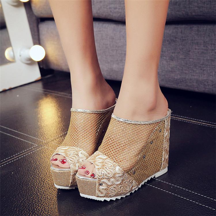 Mesh High Wedge Heels Slip On Peep Toe Sandals