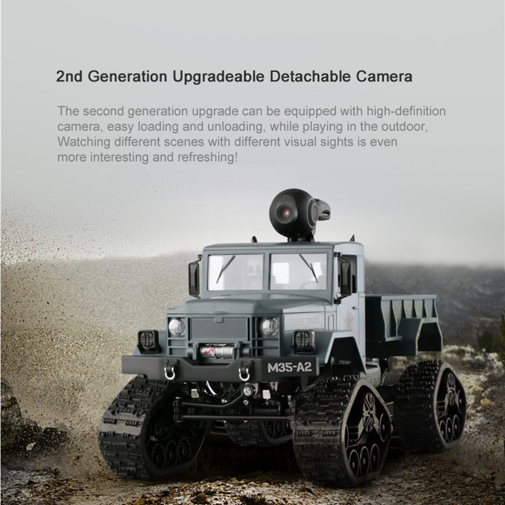 Fayee FY001 1/16 2.4G 4WD Rc Car 720P 0.3MP WIFI Brushed Off-road Military Truck W/ LED Light