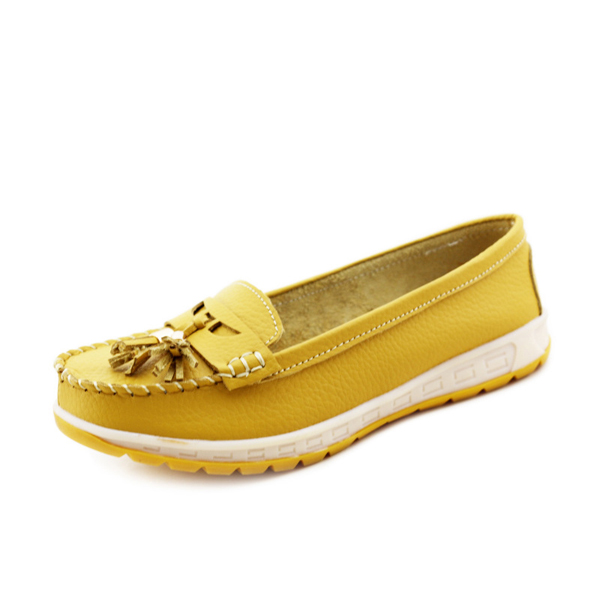 Casual Soft Leather Tassels Flat Shoes Slip On Round Toe Loafer Shoes