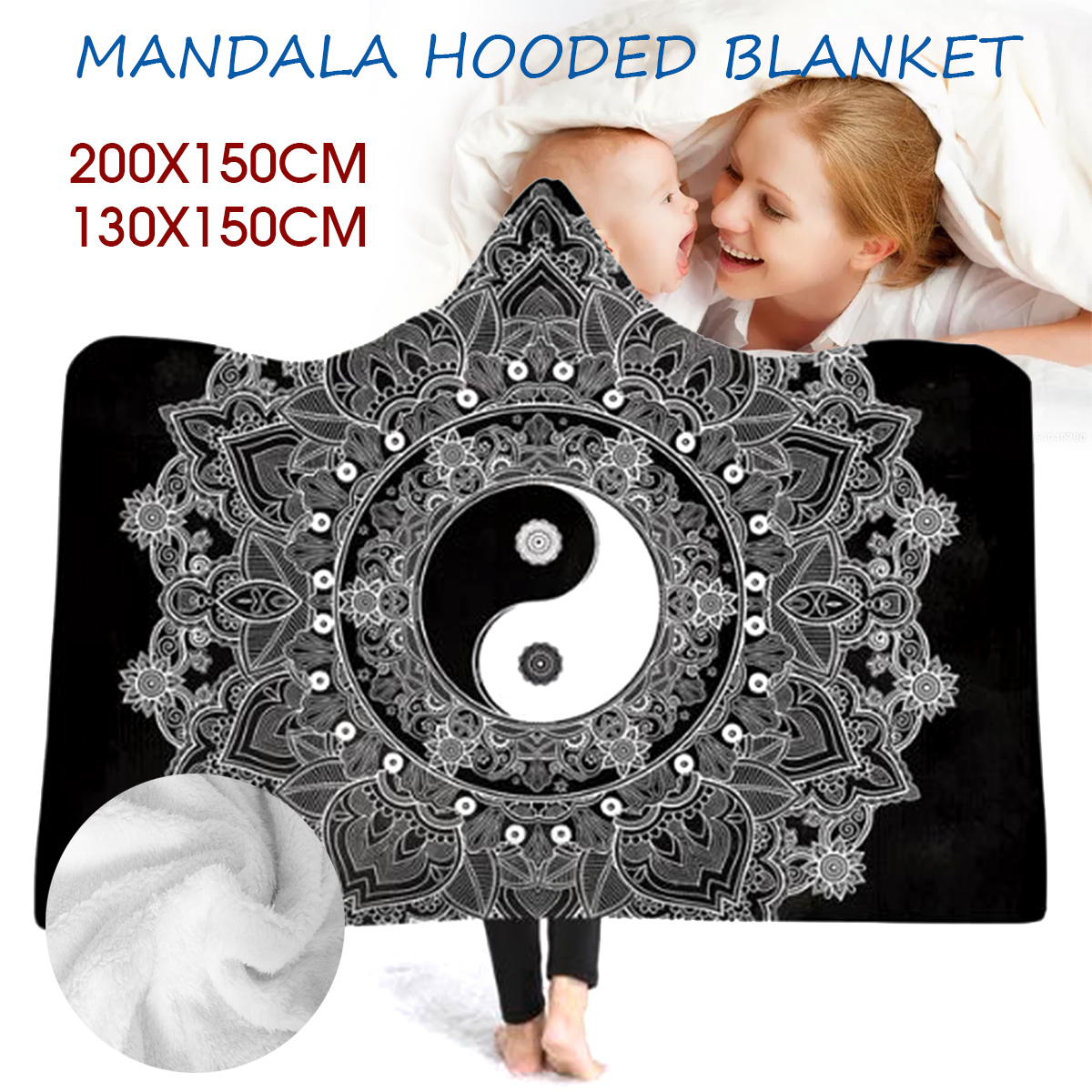 Boho Mandala Plush Wearable Hooded Blankets 2 Layer Blankets Cloak Throw Blankets