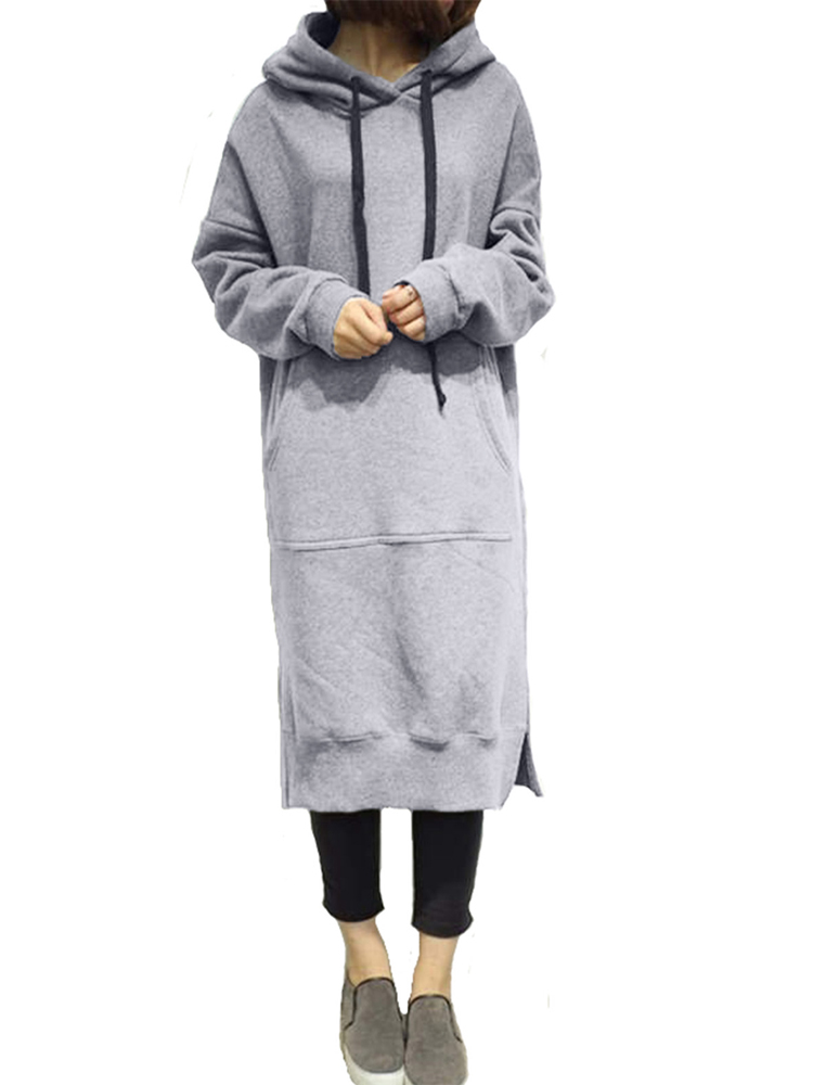 Woman Long Sleeve Hoodies Pockets Sweatshirt Dress