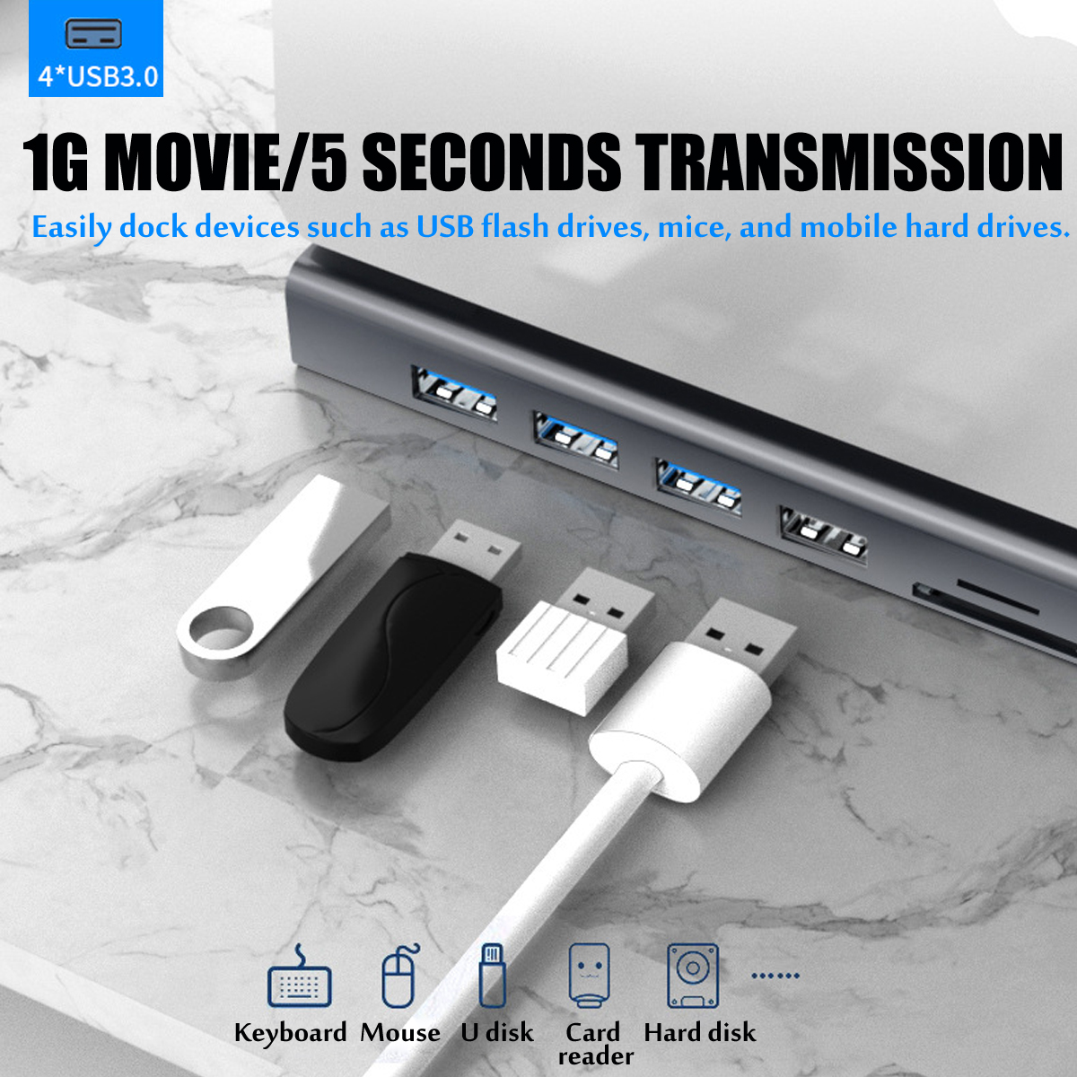Bakeey Type-c HDMI 4K HD RJ45VG 11 in 1 Docking Dtation Network Port USB 3.0 HUB Adapter For PC Tablet