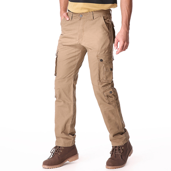 Outdooors Loose Cotton Multi Pocket Causal Solid Color Pant