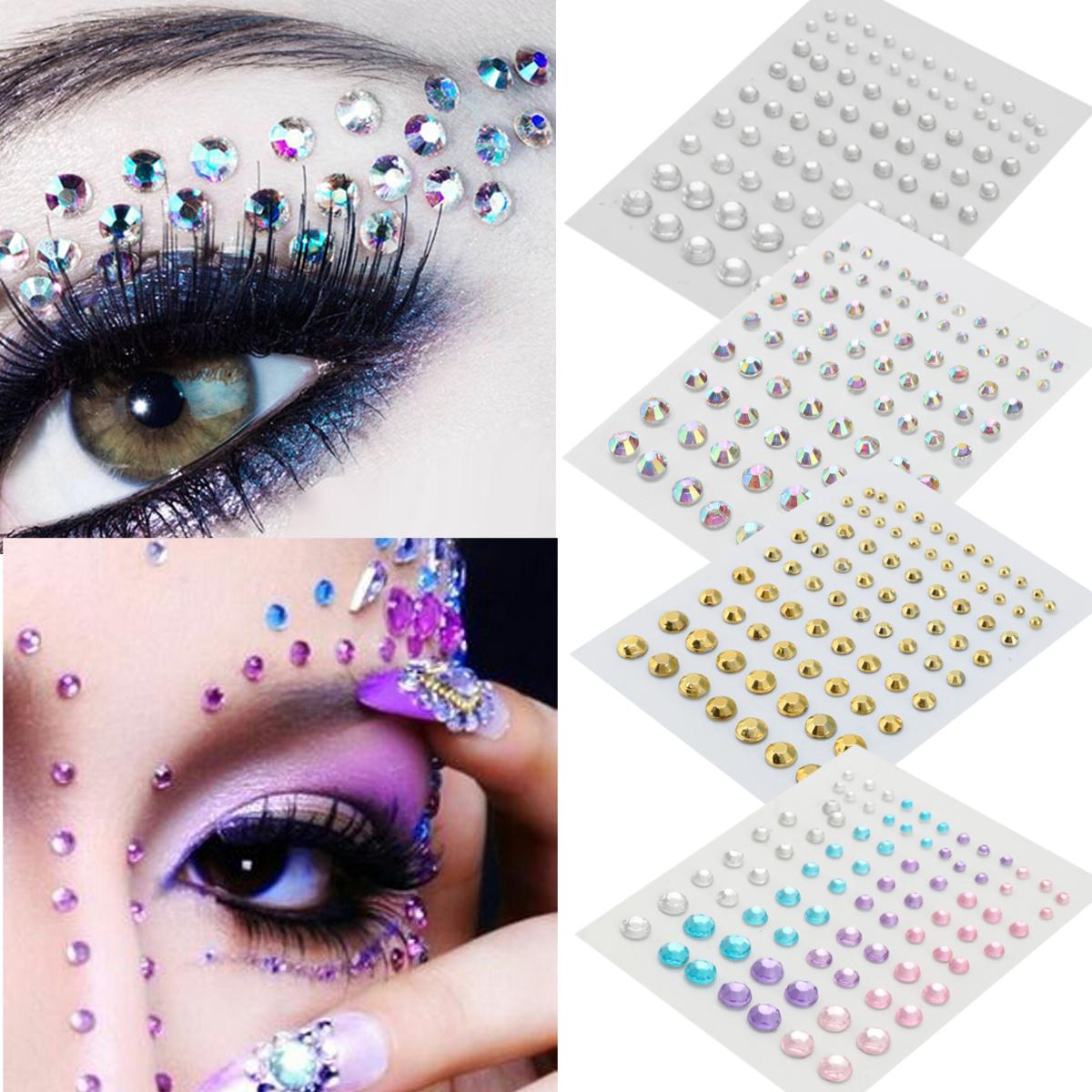 Halloween Party Jewelry Eyes Makeup Crystal Eyes Sticker Tattoo Diamond Glitter Makeup Sticker