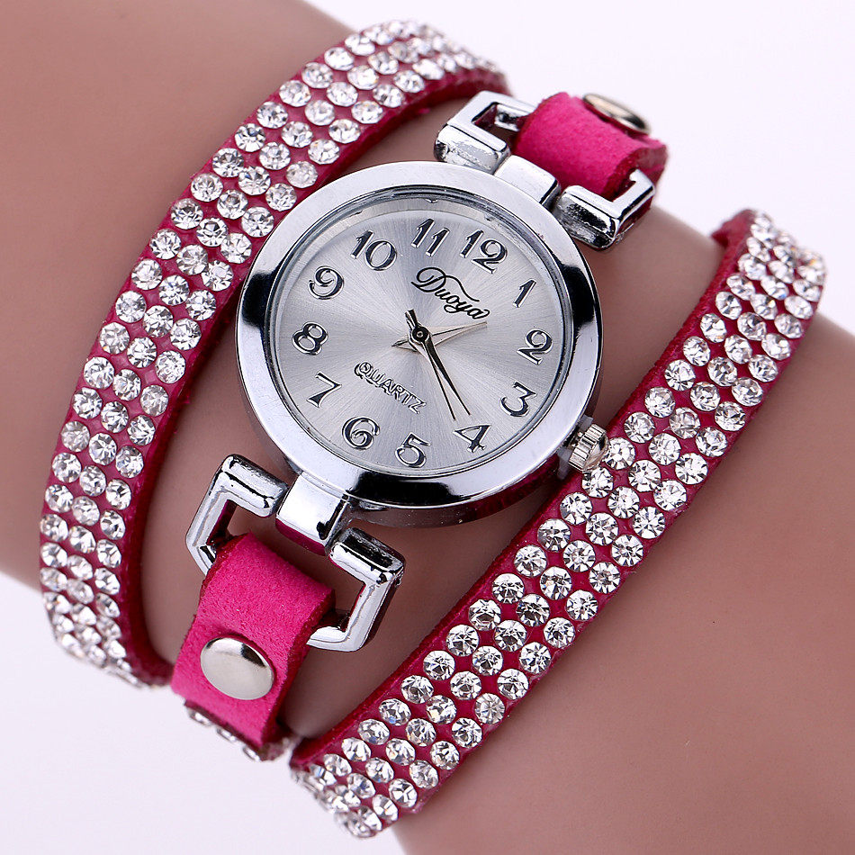 DUOYA Casual Style Crystal Ladies Bracelet Watch Luxury Fine Leather Winding Women Quartz Watches