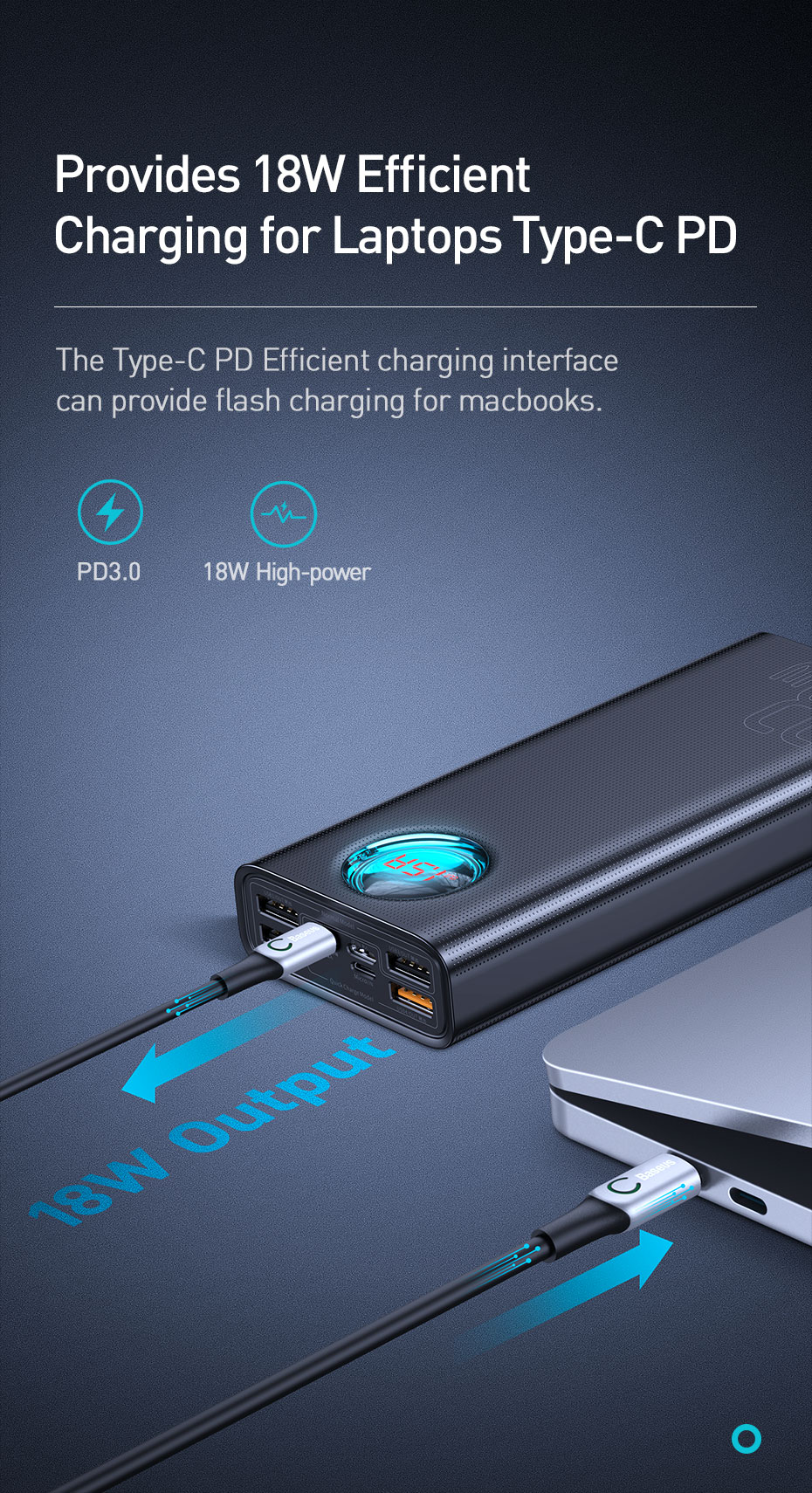 Baseus CW-YMS 30000mAh PD3.0 QC3.0 LED Digital Display 5 Output 3 Input USB-C Power Bank For Samsung Xiaomi Huawei
