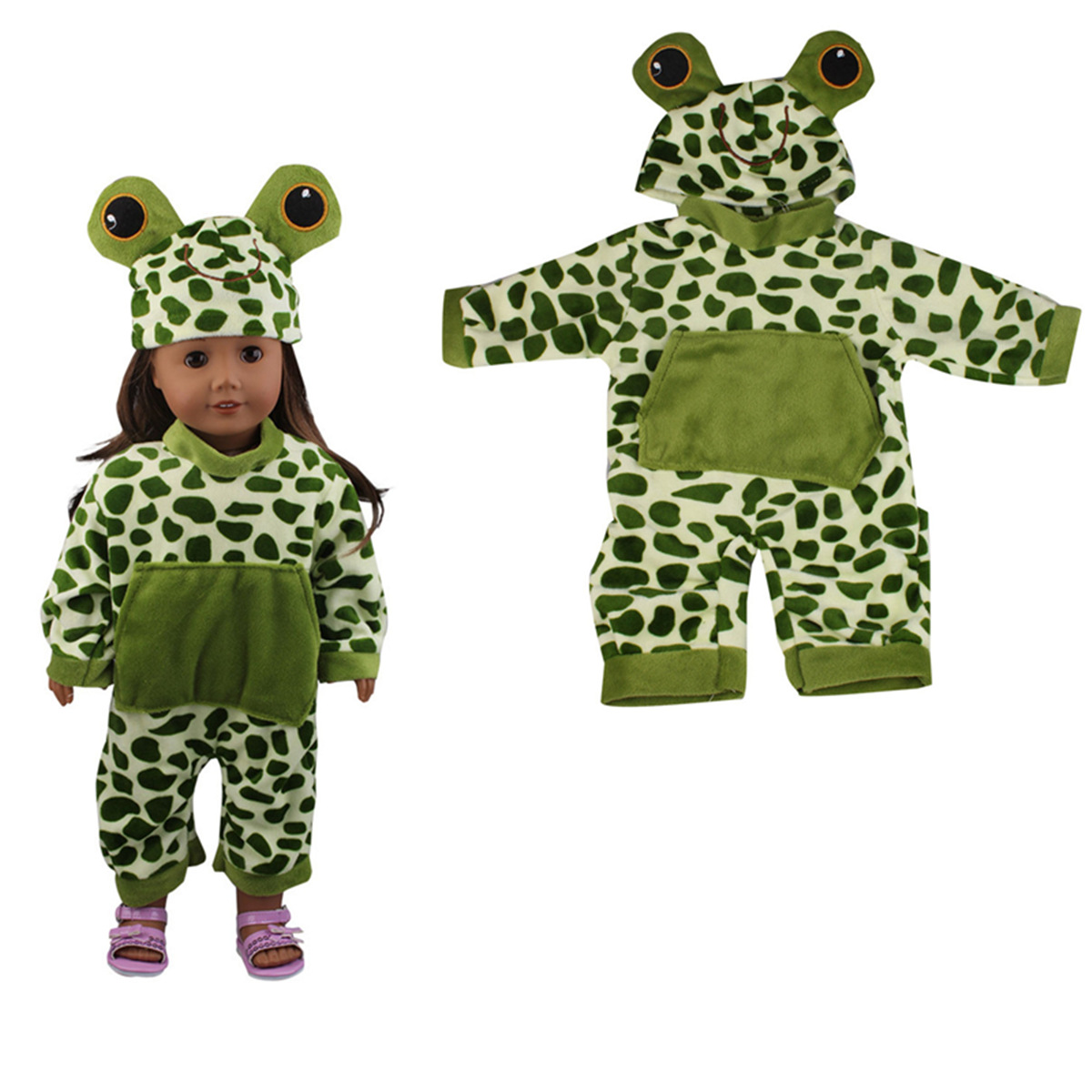 Sleeping Baby Frog Shape Doll Clothes Set For 18'' Amer