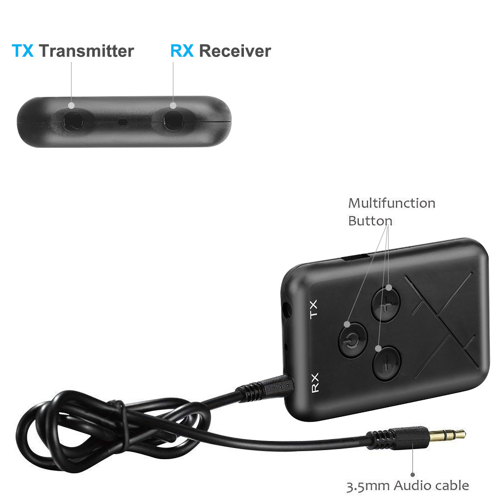 iMars Wireless bluetooth Receiver Transmitter Adapter 2-in-1 3.5mm AUX Jack For Car Audio Headphone Home TV