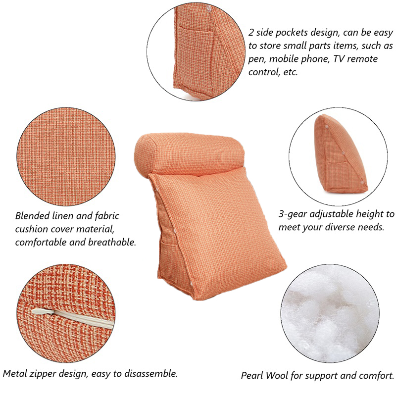 Adjustable Sofa Pillow Cushion Lumbar Back Wedge Support