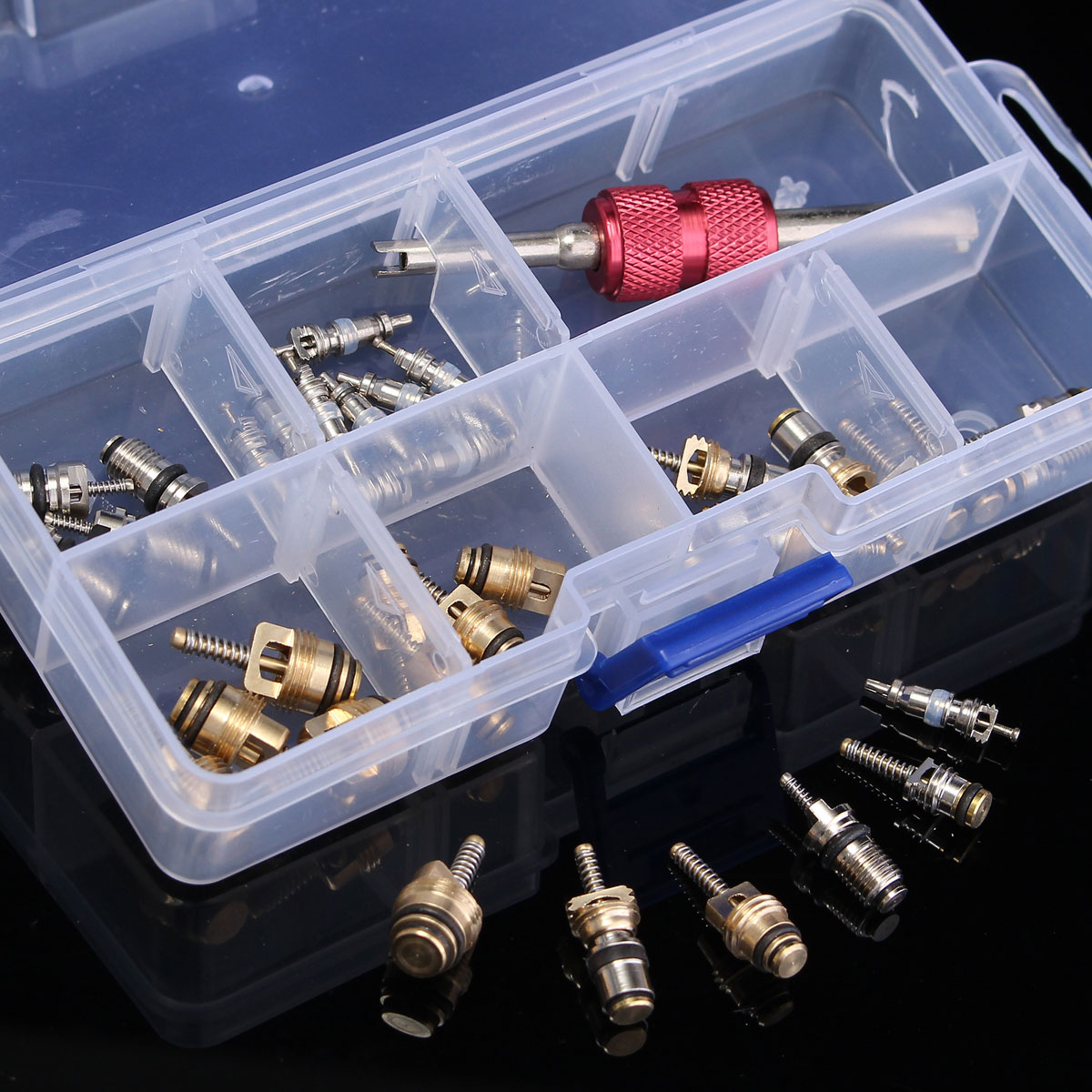 35pcs Universal A/C Car Air Conditioning Valve Core Repair Tool Kit Box for R12 & R134A
